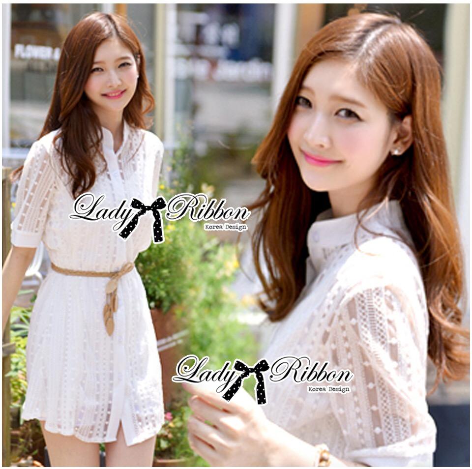 Lady Ribbon Korea LB14160516 &#x1F380 Lady Ribbon's Made &#x1F380 Lady Jennifer Sweet Button Down Organza Lace Dress