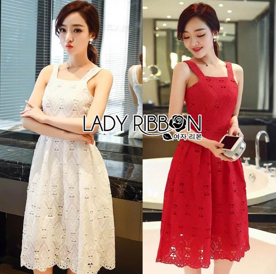 Lady Ribbon Korea Dress &#x1F380 Lady Ribbon's Made &#x1F380 Lady Samantha Sweet Feminine Laser-Cut Cotton Dress เดรสแขนกุด