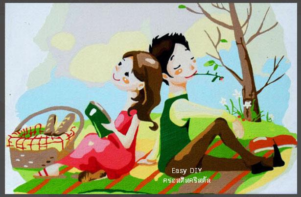 งานฝีมือ diy ครอสติสคริสตัลรูปการ์ตูนคู่รักสวีทหวาน