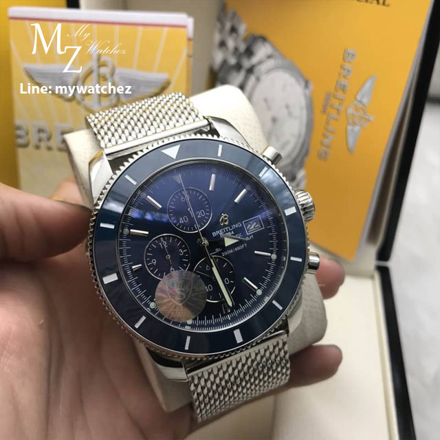 Breitling Superocean Héritage II Chronograph 44MM Blue Dial - Mesh Stainless