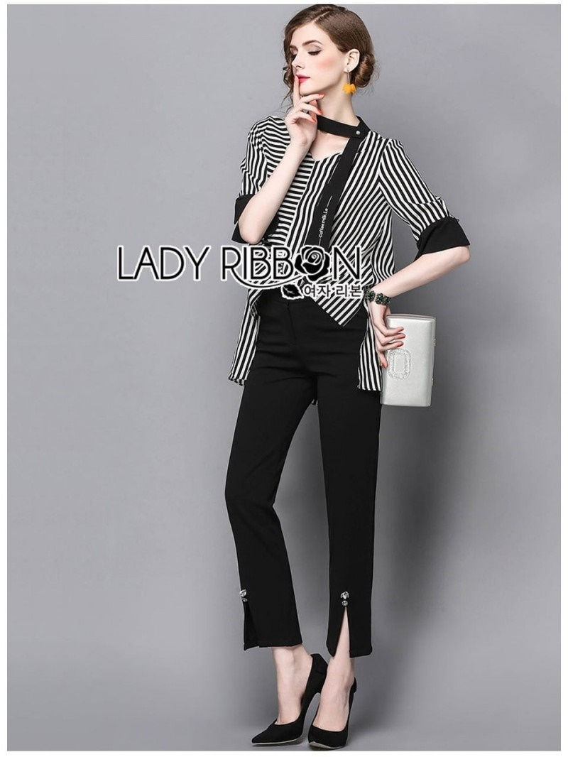 เสื้อผ้าแฟชั่นเกาหลี Lady Ribbon Thailand Lady Ribbon's Made Lady Poppy Minimal Chic Striped Top with Scarf and Black Pants Set