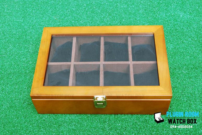 กล่องเก็บนาฬิกา 8 เรือน ไม้สน สีน้ำตาล