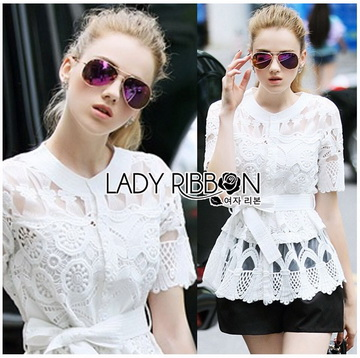 &#x1F380 Lady Ribbon's Made &#x1F380 Lady Elena Elegant Chic Button-Down White Lace Blouse with Ribbon เสื้อผ้าลูกไม้สีขาว