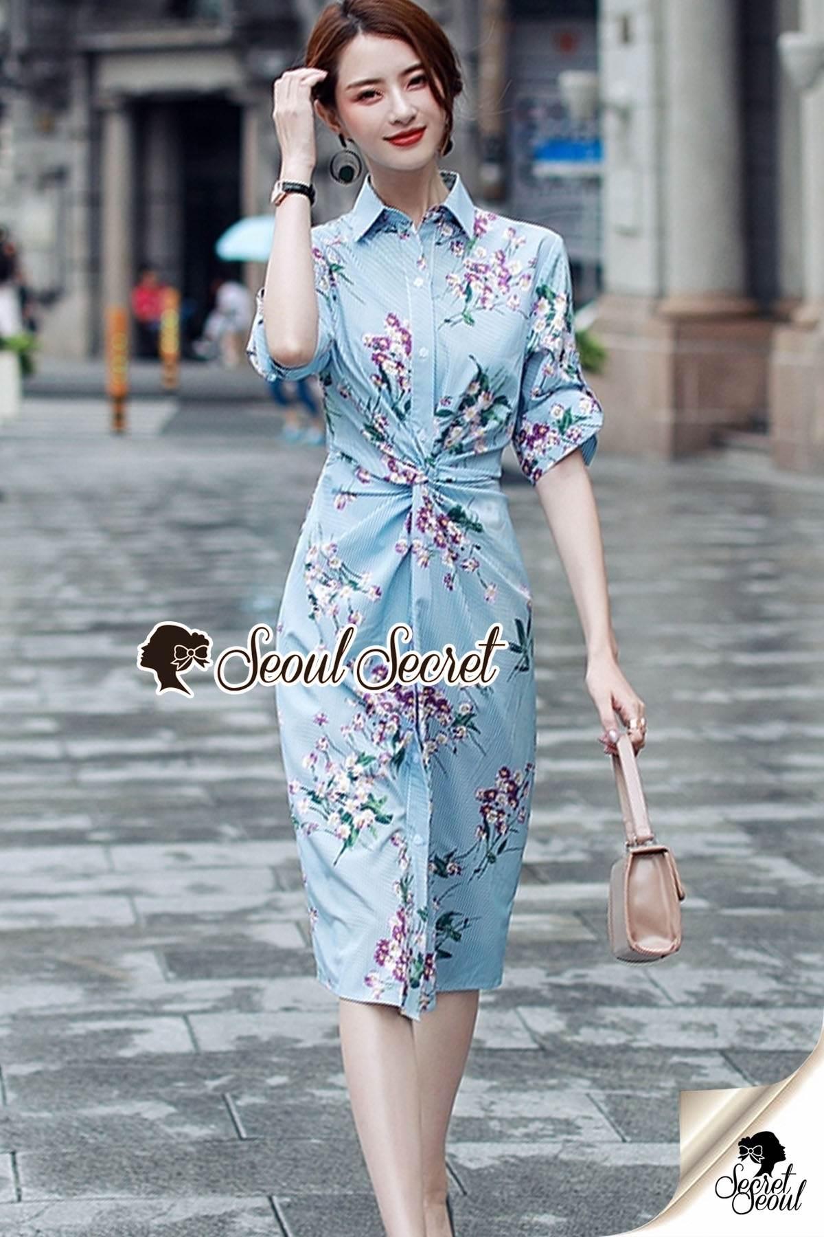 Seoul Secret Say's... Stripe Pattern Waist Ivory Floral Print Shirt Dress