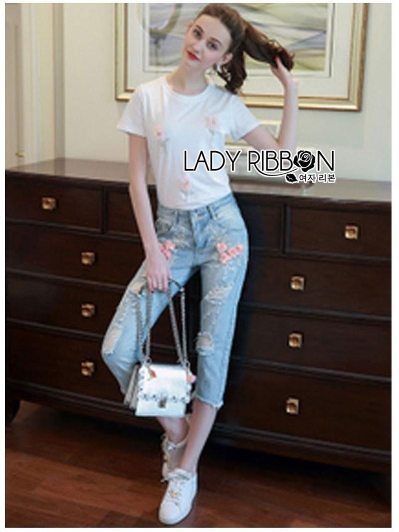 เสื้อผ้าแฟชั่นเกาหลี Lady Ribbon Thailand Lady Ribbon's Made Lady Camilla Easy Casual Flower Embroidered White T-Shirt and Denim Set