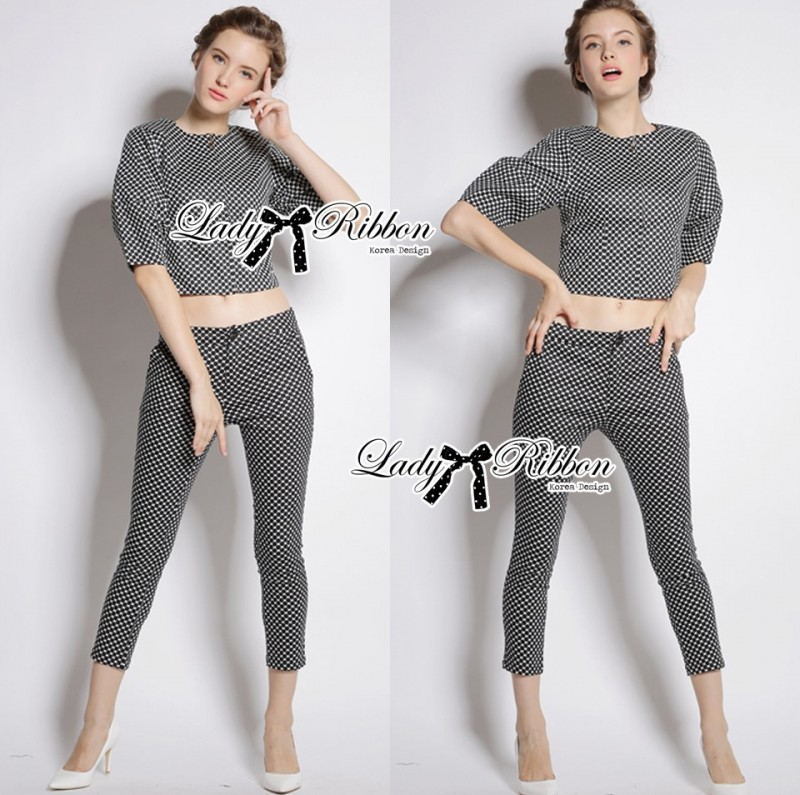 เสื้อผ้าแฟชั่นเกาหลี Lady Ribbon's Made Lady Clara Polka Dot Zip-Up Jacket and Pants Set