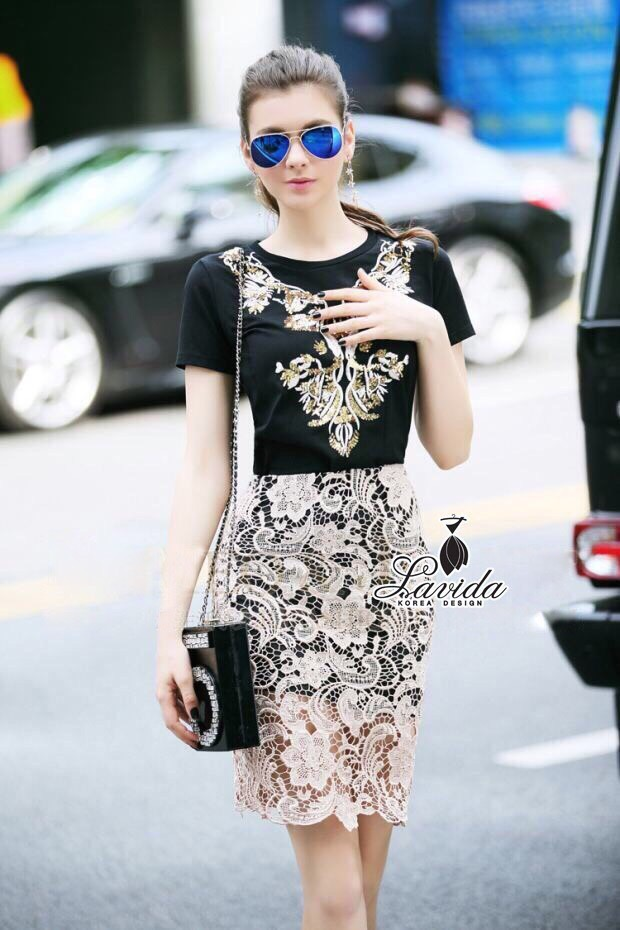 Lady Ribbon Korea Closet &#x1F36DKorea Design By Lavida golden shiny embroidered top luxury lace skirt magnificent set