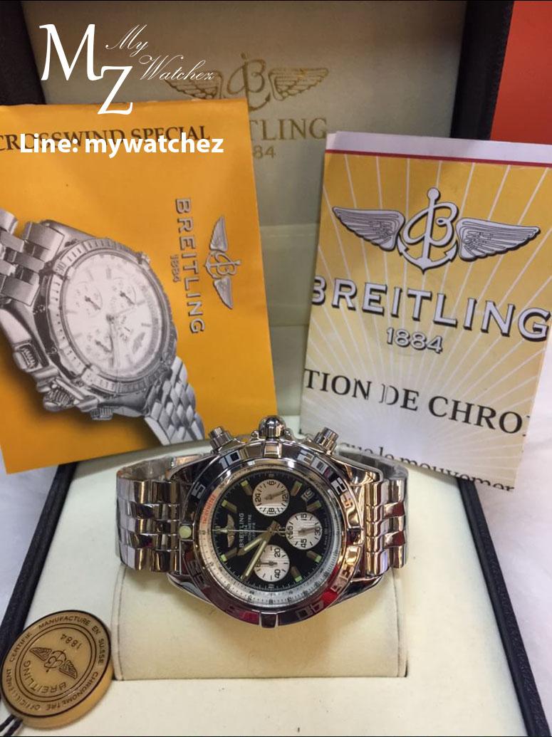 Breitling 1884 Chronomat ฺBlack Dial Stainless Ref # AB0110