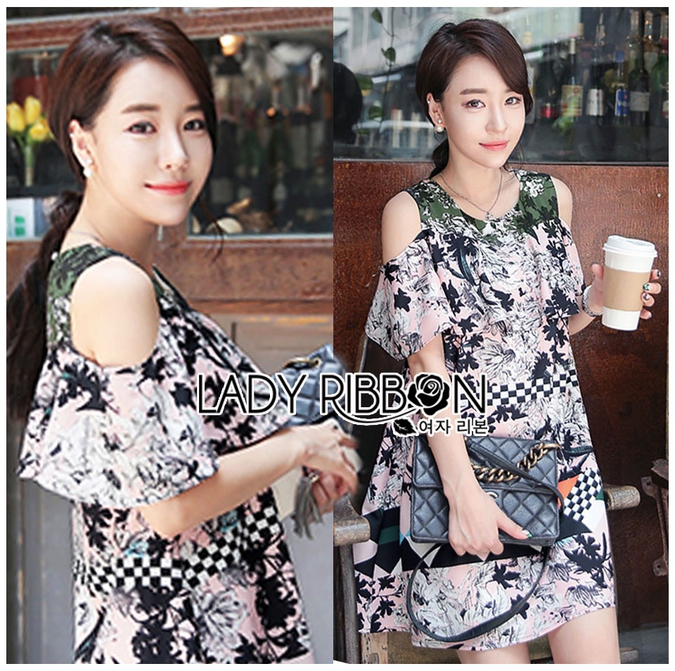 Lady Ribbon's Made &#x1F380 Lady Rachel Print on Print Cut-Out Korea Dress เดรส
