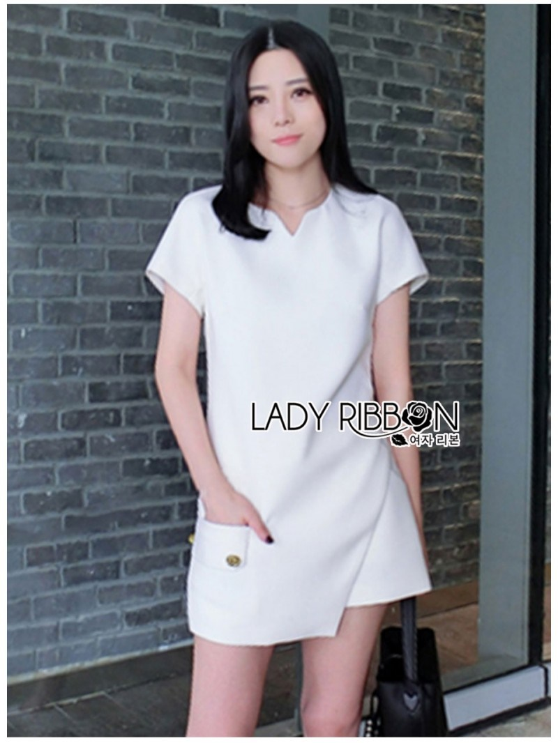 เสื้อผ้าแฟชั่นเกาหลี Lady Ribbon Thailand Lady Ribbon's Made Lady Taylor Minimal Chic White Top and Shorts Set