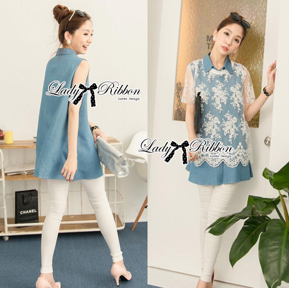 Lady Ribbon's Made &#x1F380 Lady Mariam Mix Lace and Cotton Denim Shirt Dress Korea