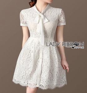 Lady Ribbon' White Lace Dress with Ribbon
