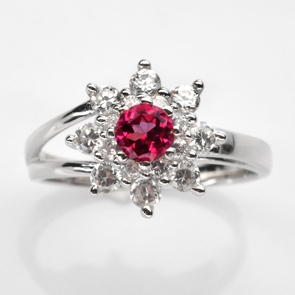 แหวนพลอยแท้แหวนเงินแท้925 พลอยโทปาสสีชมพู ล้อมเพชร CZ เกรดพรีเมี่ยม