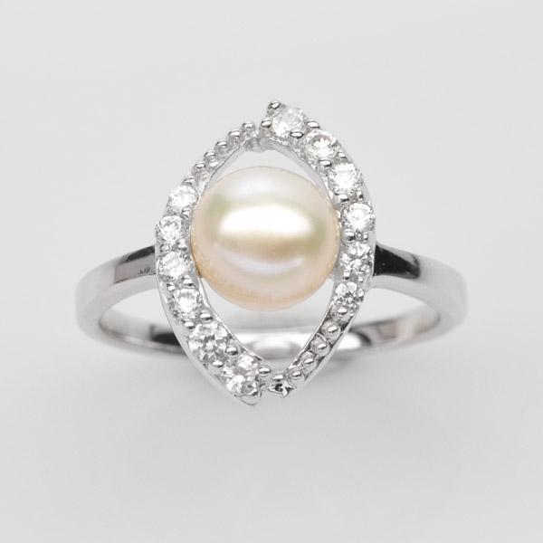 แหวนไข่มุกแท้แหวนเงิน925 ไข่มุก ประดับเพชร CZ ชุบทองคำขาว