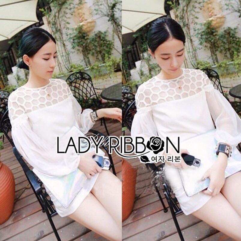Lady Ribbon's Made &#x1F380 Lady Hive See-through Top Mini dress มินิเดรสแขนยาว