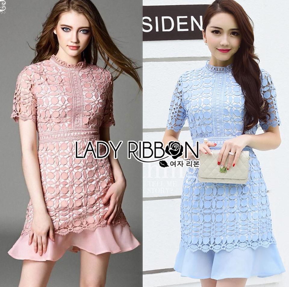 Lady Ribbon Korea Dress &#x1F380 Lady Ribbon's Made &#x1F380 Lady Slyvie Pastel Love Guipure Lace and Chiffon Dress เดรสผ้าลูกไม้
