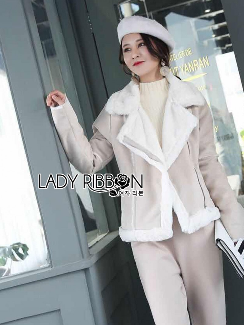 เสื้อผ้าแฟชั่นเกาหลี Lady Ribbon Thailand Lady Ribbon's Made Lady Carley Winter Suede Shearling Coat