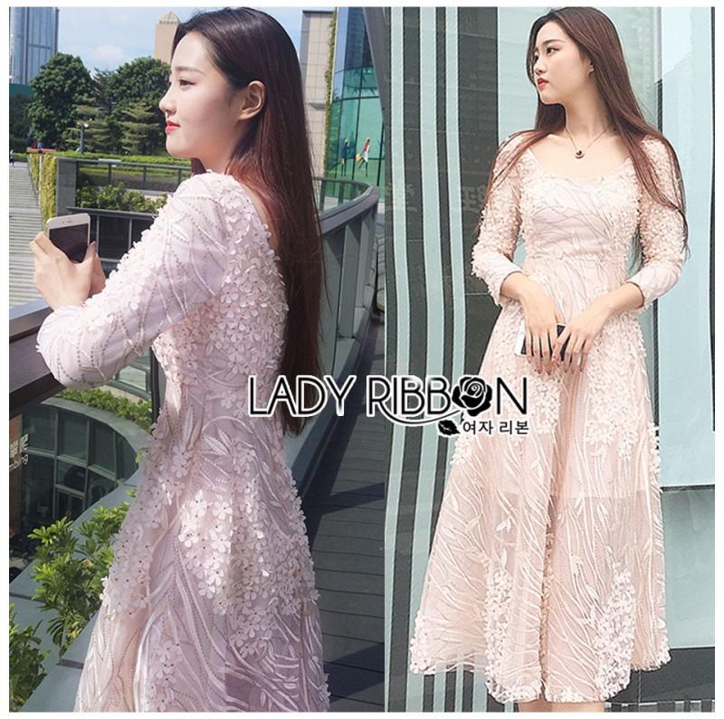 เสื้อผ้าแฟชั่นเกาหลี Lady Ribbon's Made Lady Matilda Flower Embroidered Champagne Lace Dress
