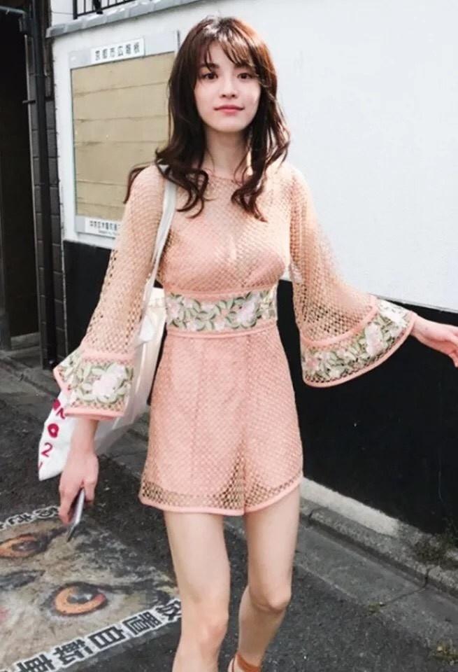 เสื้อผ้าแฟชั่นเกาหลี Lady Ribbon Thailand Normal ally present Embroidered flower sweet Summer playsuit