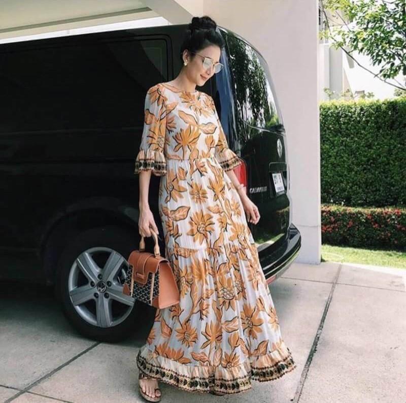 เสื้อผ้าแฟชั่นเกาหลี Lady Ribbon Thailand Korea Design By Lavida Elegant floral printing maxi dress code3007