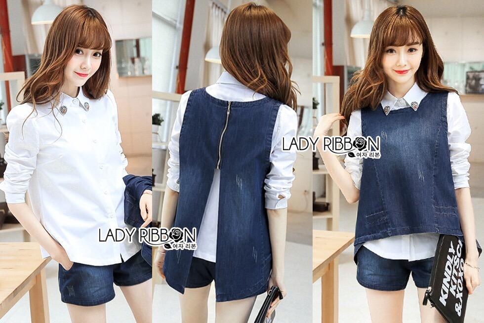 Lady Ribbon Korea LR14230516 &#x1F380 Lady Ribbon's Made &#x1F380 Lady Trixie Smart Casual Denim Set