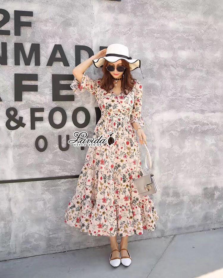 เสื้อผ้าแฟชั่นเกาหลี Lady Ribbon Thailand Korea Design By Lavida Blossom stitching feminine dress code8243