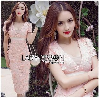 Lady Ribbon Korea Dressเสื้อผ้า LR21010816 &#x1F380 Lady Ribbon's Made &#x1F380 Lady Gabriella Sexy Feminine Flower Embroidered Pinky Dress เดรสผ้าลูกไม้สีชมพู