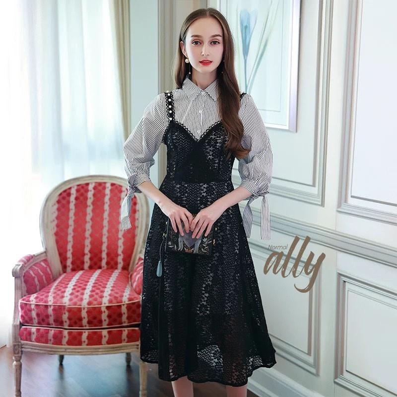 เสื้อผ้าแฟชั่นเกาหลี Lady Ribbon Thailand Normal Ally Dress shirt and lace and pearl dress set