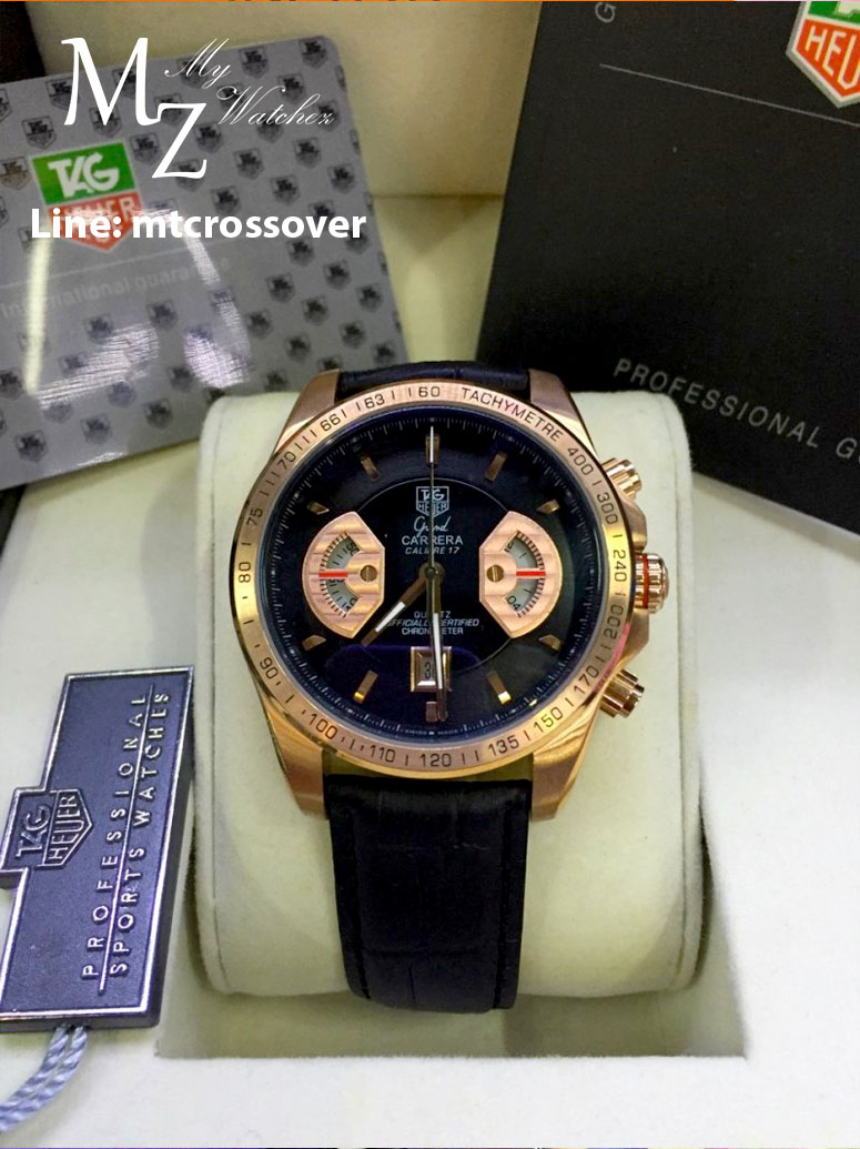 TAG HEUER Grand Carrera 17RS Caliper Chrono - Pink Gold and Black Leather Strap