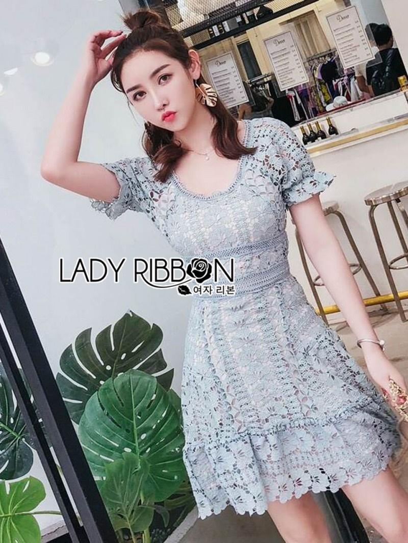 เสื้อผ้าแฟชั่นเกาหลี Lady Ribbon Thailand Lady Ribbon's Made Lady Eva Feminine Vivid Blue Lace Dress