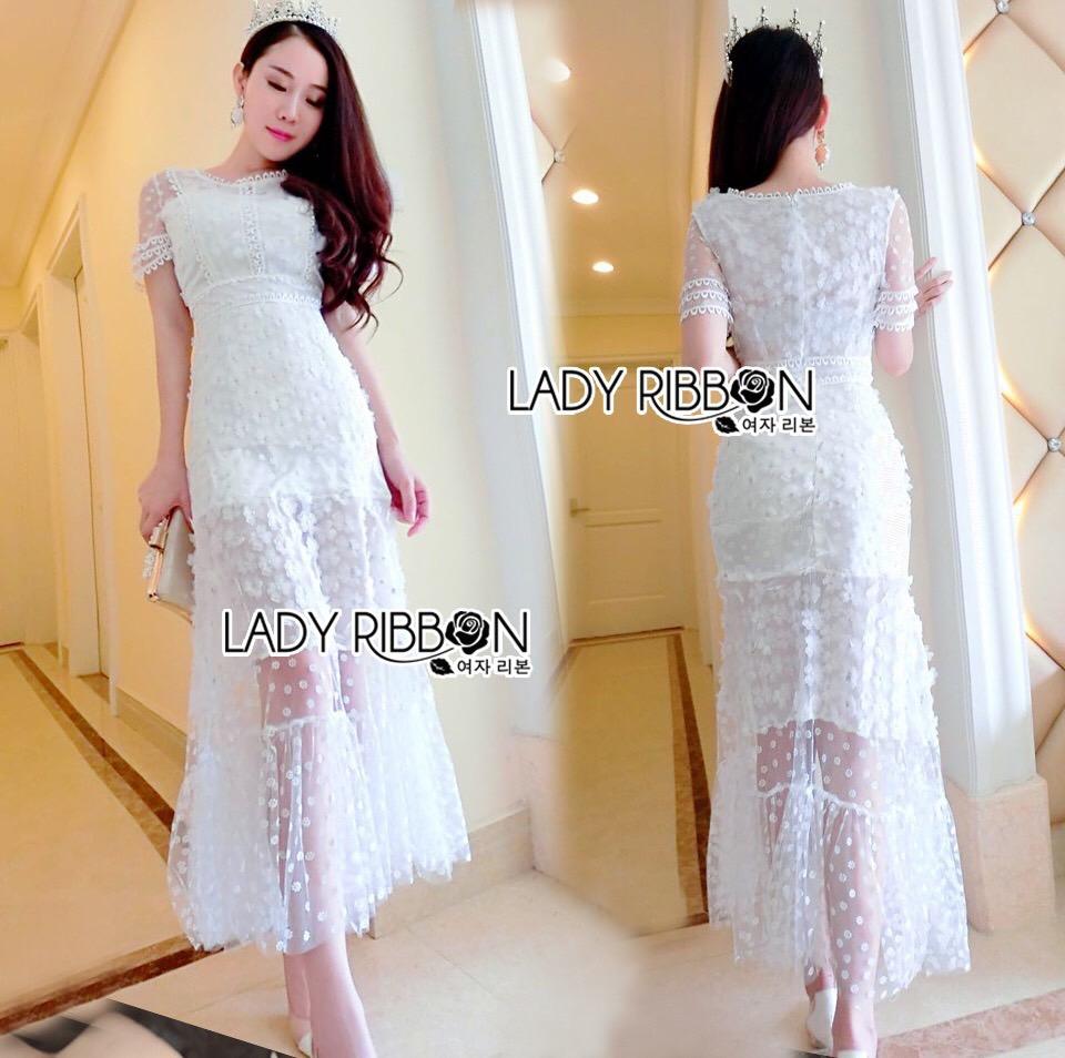 Lady Ribbon Korea Dress Maxidress LR09230616 &#x1F380 Lady Ribbon's Made &#x1F380 Lady Penelope Pure Little Daisy Embroidered Maxi Dress