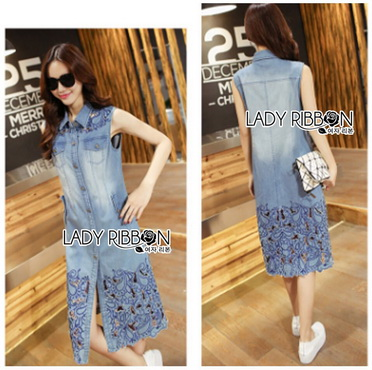 Lady Ribbon Korea Dress Korea LR17300616 &#x1F380 Lady Ribbon's Made &#x1F380 Lady Shannon Embroidered and Laser-Cut Denim Shirt Dress