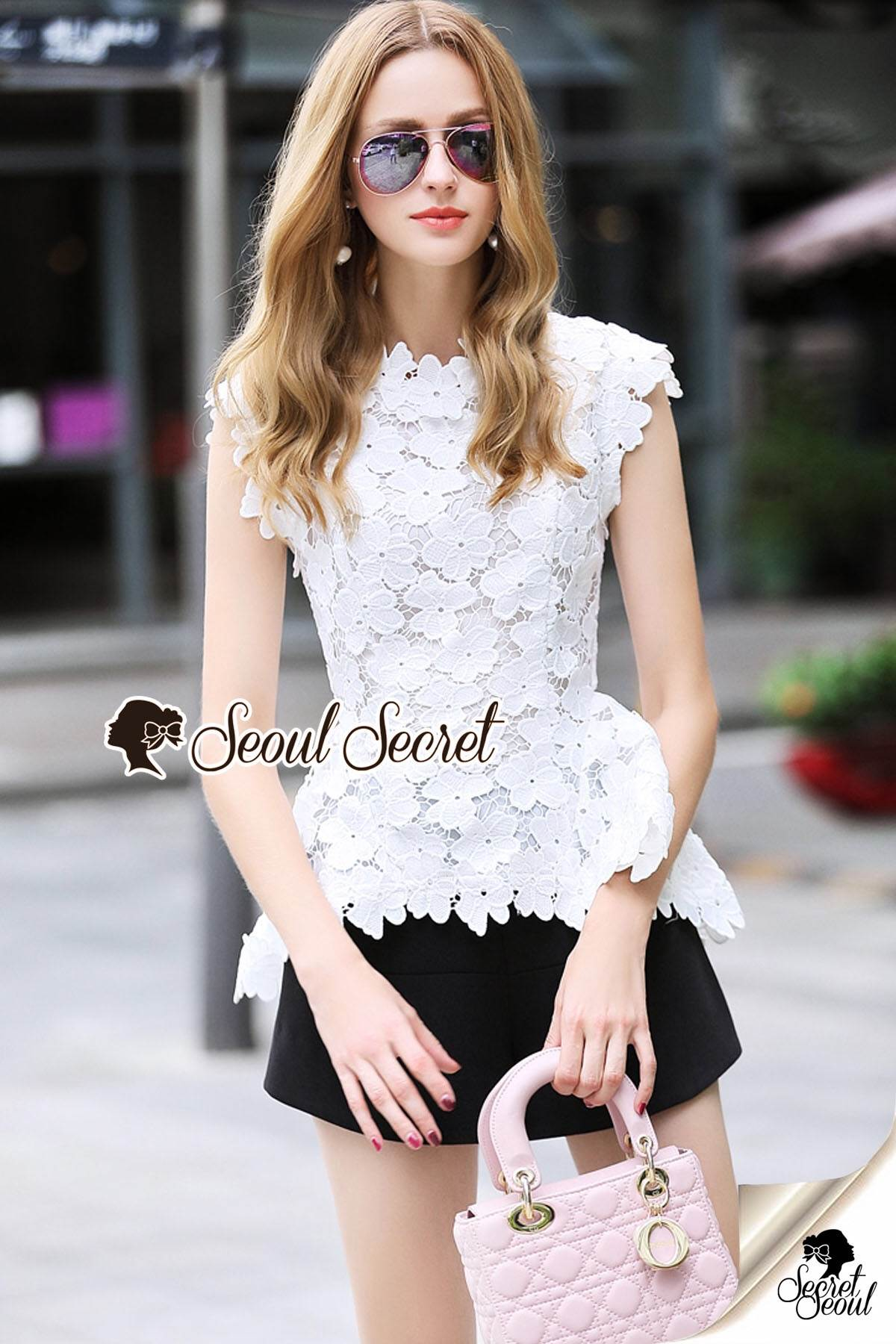 Seoul Secret Say's... White Daisy Cami Blouse