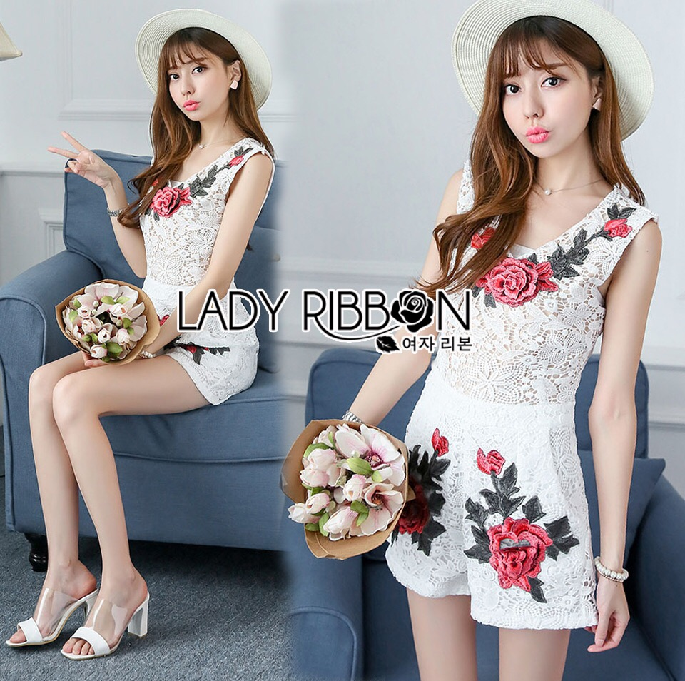 Lady Ribbon Korea Dress &#x1F380 Lady Ribbon's Made &#x1F380 Lady Rosie Red Roses Embroidered Lace Dress