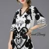 Lady Ribbon Korea Closet Dress SW 17060616 Sweet Bunny Present... Lattice Tie Black Floral Dress