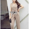 🎀 Lady Ribbon's Made 🎀 Lady Jenna Smart Casual Pale Grey Jumpsuit with Belt