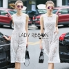 Lady Ribbon เสื้อผ้าเกาหลี LR06110716 &#x1F380 Lady Ribbon's Made &#x1F380 Lady Katy Smart Casual White Guipure Lace Jumpsuit