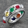 แหวนพลอยนพเก้าแท้รอบวง แหวนเงินแท้ 925 ชุบทองคำขาว