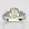 แหวนพลอยแท้ แหวนเงิน925 พลอยเบริล(Beryl) ประดับเพชร CZ ชุบทองคำขาว