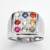 แหวนพลอยแท้ แหวนชายพลอยนพเก้แท้ แหวนเงินแท้ 925 ชุบทองคำขาว