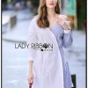 🎀 Lady Ribbon's Made 🎀 Lady Liz Two-Tone Off-Shoulder Cotton Shirt Dress