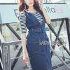 🎀 Lady Ribbon's Made 🎀 Lady Janie Minimal Chic Striped Top and Denim Dress with Belt Set