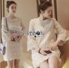 Lady Ribbon Dress LR04120516 &#x1F380 Lady Ribbon's Made &#x1F380 Lady Jenny Sweet Classic Flared-Sleeve Lace Dress in White