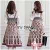 Lady Ribbon เสื้อผ้าเกาหลี LR05110716 &#x1F380 Lady Ribbon's Made &#x1F380 Lady Rosie Feminine White Lace Shirt and Printed Viscose Dress Set เซ็ตเสื้อลูกไม้