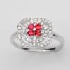 แหวนพลอยแท้ แหวนเงิน925 พลอย ทับทิม ประดับเพชร CZ ชุบทองคำขาว