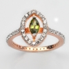 แหวนพลอยแท้ แหวนเงิน925 พลอย มรกต ประดับเพชร CZ ชุบPink Gold