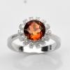 แหวนพลอยแท้ แหวนเงิน925 พลอย อิมพีเรียล โทปาส ประดับเพชร CZ ชุบทองคำขาว