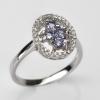 แหวนพลอยแท้แหวนเงิน925 ชุบทองคำขาว พลอยแทนซาไนท์ ล้อมเพชร CZ