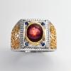 แหวนพลอยแท้ แหวนเงิน925 พลอย ทับทิมสตาร์ ตัวเรือน ชุบสองกษัตร ทองคำขาว-ทองคำ