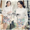 Lady Ribbon's Made &#x1F380 Lady Cara Feminine Flare-Sleeve Lace Blouse Korea Dress